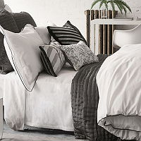 A stylish double Oxford embroidered edged in both charcoal and dove grey gives this white luxurious 400 thread count cotton bedding a modern tailored feel.