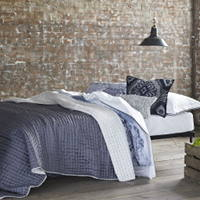 Luxuriously soft and lightweight 100% silk quilts and shams in a fresh chalk white with a reverse of graphite grey.