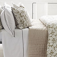 Luxuriously soft and lightweight 100% silk quilts and shams in a natural tones with a reverse of fresh chalk white.
