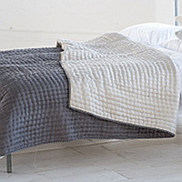 Luxuriously soft and lightweight 100% silk quilts and shams in silver with a reverse of slate grey.