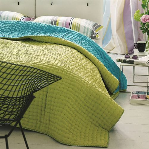 Designers Guild Chenevard Turquoise & Pistachio Quilted Coverlet