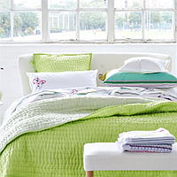 Luxuriously soft and lightweight 100% silk quilts and shams in a delicate wild lime green with a reverse of pale mint green.