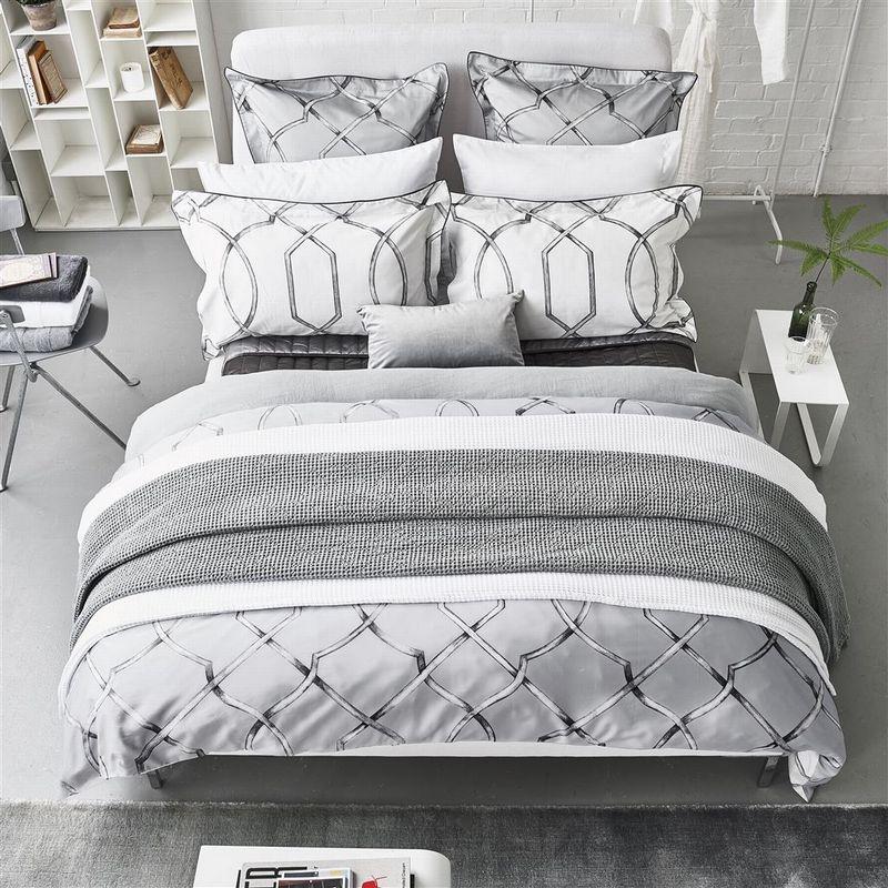 Designers Guild Rabeschi Slate Bed Linen, Elegant Slate Grey Bedding