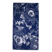 Elaiva Allurments Blue Graphic Flowers Beach Towel