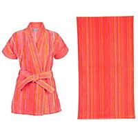 Elaiva Orange Shadows Beach Kimono and Beach Towels