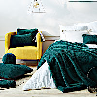 Evelyne Prelonge Alpine Green Luxe Faux Fur Bedding and Accessories