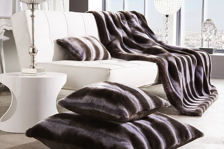 Evelyne Prelonge Luxe Faux Fur Bed Covers & Accessories in Chinchilla Black and White