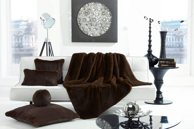 Evelyne Prelonge Luxe Faux Fur Bed Covers & Accessories in Chocolate