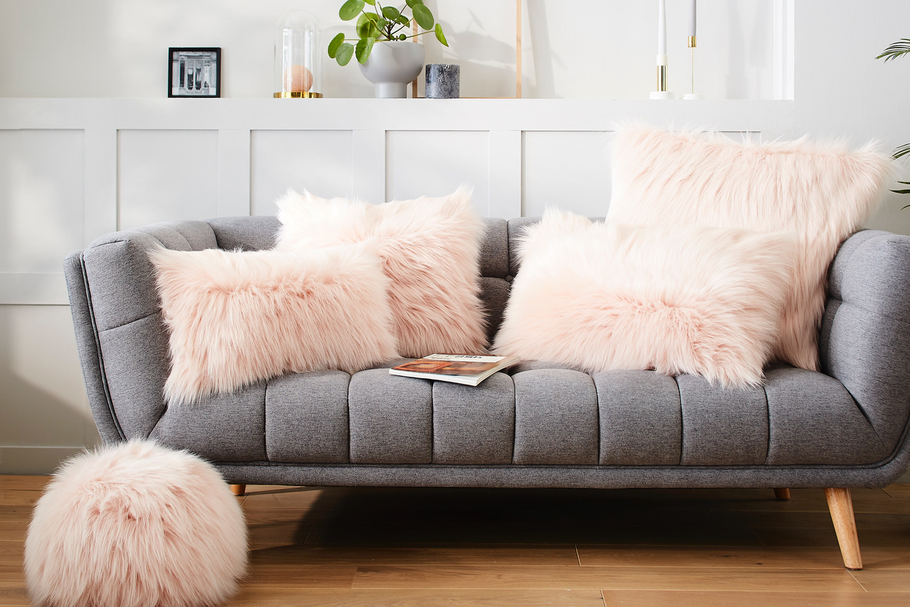 Evelyne Prelonge Himalaya Blush Luxe Faux Fur Bedding And Accessories