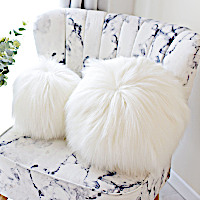 Evelyne Prelonge Himalaya Ivory Luxe Faux Fur Bedding and Accessories