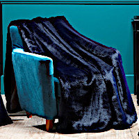 Evelyne Prelonge Navy Blue Faux Fur Bedding and Accessories