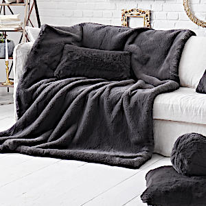 Evelyne Prelonge Smoky Faux Fur Throw