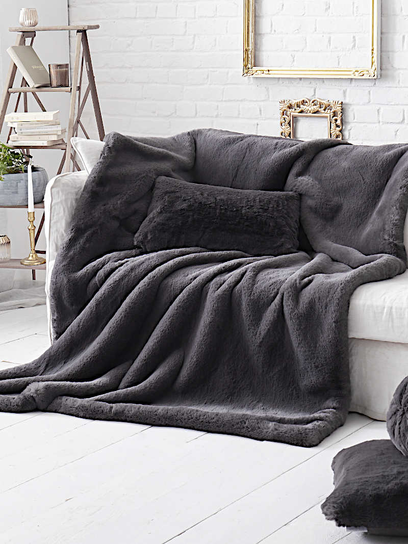 Evelyne Prelonge Smoky Luxe Faux Fur Bedding and Accessories