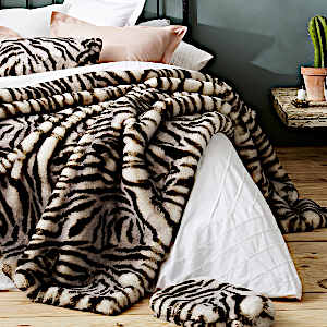 Evelyne Prelonge White Tiger Faux Fur Throw