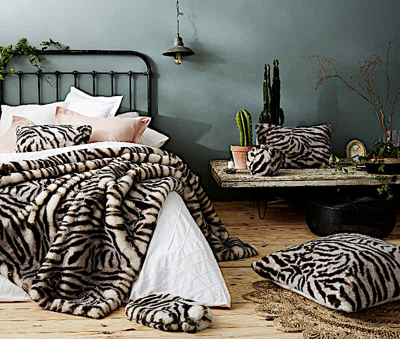 Evelyne Prelonge White Tiger Luxe Faux Fur Bedding and Accessories