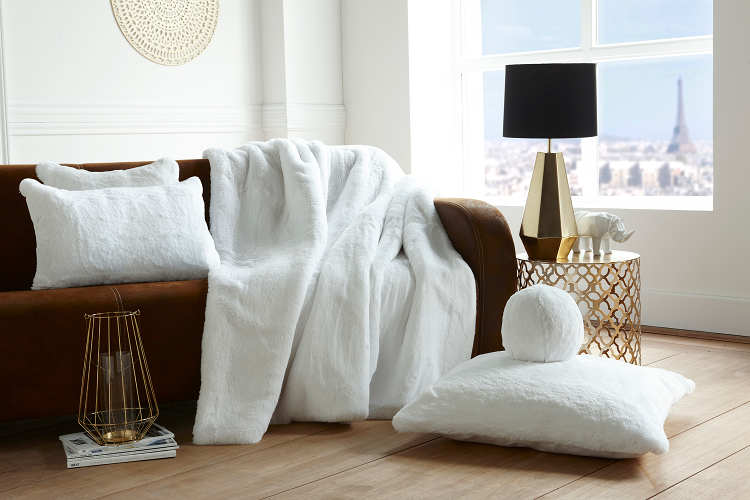 Evelyne Prelonge Luxe Faux Fur Bed Covers & Accessories in White