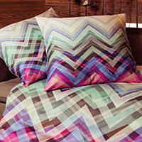 A zig zag pattern with vibrant colors printed on TENCEL fabric