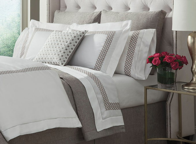 Home Treasures Avalon - Sateen bedding, Egyptian Cotton, duvets, shams, bed sheet, embroidered bedding
