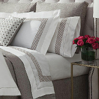 Home Treasures Avalon Bedding - A 300 thread count, 100% Egyptian cotton, Italian sateen, with a simple circle-patterned decoratclass=