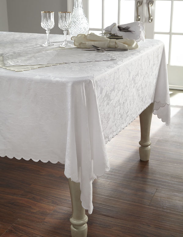 Home Treasures Blooms Table Linens - A 300 thread count, 100% Egyptian cotton Italian damask, with allover rose pattern, finished with an embroidered scallop (unless otherwise specified).
