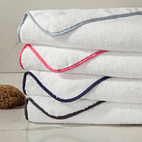 Home Treasures Bodrum Towels - Izmir towel, a 550 gram, zero twist, 100% Egyptian cotton, Turkish terry, is finished with a rounclass=