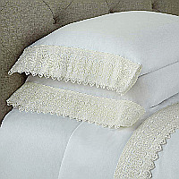 A wide Austrian lace applied to any 300 thread count, 100% Egyptian Cotton, Italian Royal Sateen 300TC.