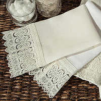 Home Treasures Bonaire Guest Towels - A wide Austrian lace, with a structured, symmetric design that is applied to the option ofclass=