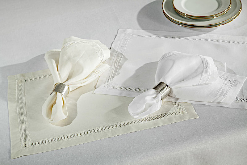 Home Treasures Doric Table Linens - A 300 thread count, 100% Egyptian cotton Italian damask, with allover rose pattern, finished with an embroidered scallop (unless otherwise specified).