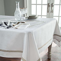 Home Treasures Fino Table Linens - A simple collection of 100% Italian linen designed with a contrasting colored 1 linen inset.