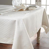 Home Treasures Gracious Table Linens - A jacquard-woven, 100% Italian linen with a subtle diamond pattern, finished with a tone-class=