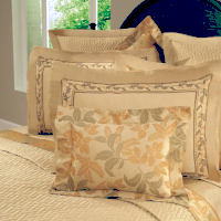 An Austrian Floral Embroidery Border is applied to a 600 thread count, 100% Egyptian cotton, Italian Royal Sateen.