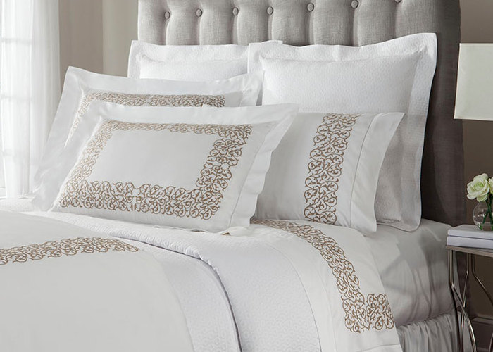 Home Treasures Bedding Jasmine Embroidery Bedding includes a duvet, dust ruffle, shams, pillowcases.