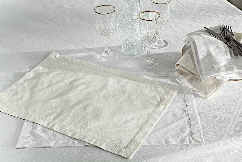 Home Treasures Luciana Scroll Table Linens - A 600 thread count, 100% Egyptian cotton, Italian jacquard, with a scroll-filled diamond pattern, finished with a tone-on-tone, hand-guided hemstitch.