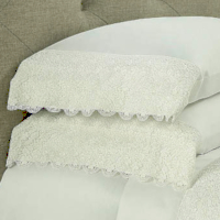 A wide Austrian lace, applied to any 300 thread count, 100% Egyptian Cotton, Italian Royal Sateen RC fabric.