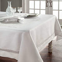 Home Treasures Morocco Scroll Table Linens - A 100% Italian linen with a Morocco lace inset.