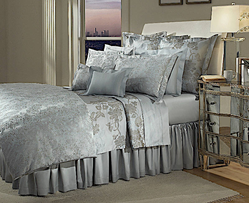Home Treasures Orchid Bedding includes a duvet, dust ruffle, shams, pillowcases.