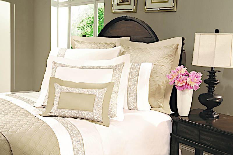Home Treasures Paris Bedding includes a duvet, dust ruffle, shams, pillowcases.