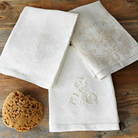 Home Treasures Porto Guest Towels - A 100% Portuguese linen jacquard guest towel, with the option of a one letter monogram in Arclass=