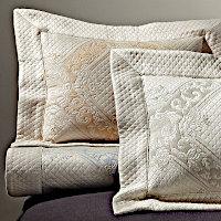 Home Treasures Bedding Shiraz Pique - A 100% Egyptian cotton, Italian pique, with an intricate diamond-shaped design on a sateenclass=