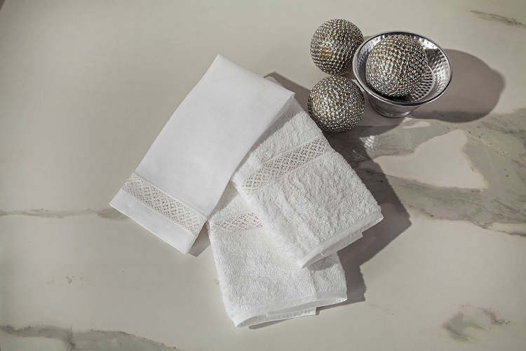 Home Treasures guest towels include a Hand Towel and Finger Tip Towel.