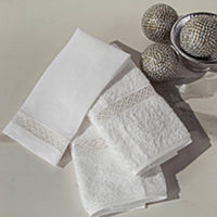 Home Treasures Valencia Guest Towels - A rhythmic patterned Polish lace that is applied to the option of a 550 gram, zero twist, Turkish terry or a 100% Italian linen.