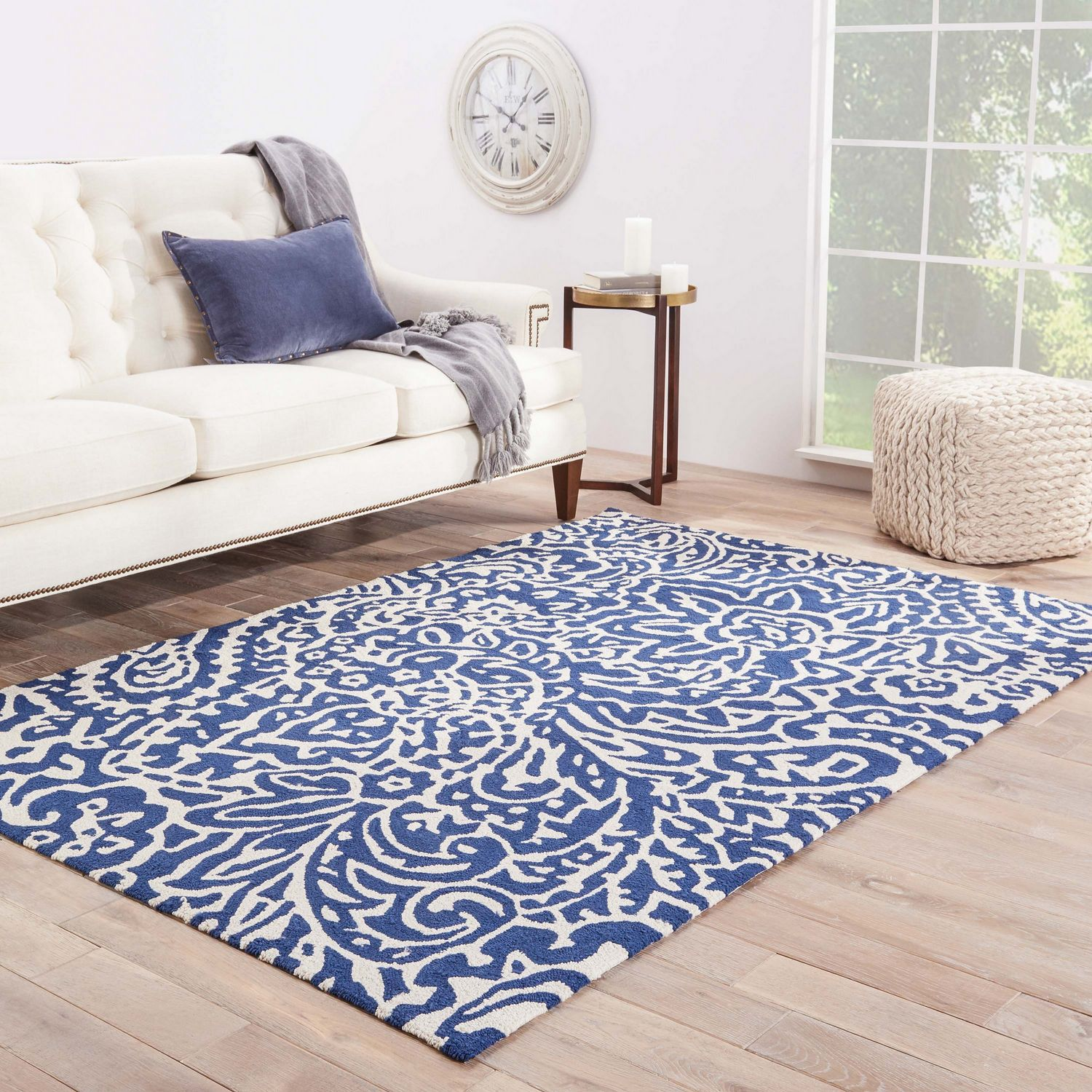 Jaipur living rugs ba03 barcelona iiso collection 100 for Blue and white carpet