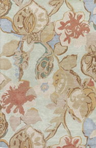 This hand-tufted area rug delivers artistic charm with soft yet playful hues.