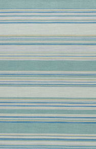 Classic with a ticking stripe, this coastal blue and turquoise flatweave area rug lends traditional charm to any space.