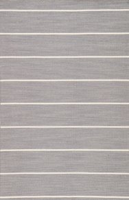 Classic with a bold stripe, this heathered gray and bright white flatweave area rug lends traditional charm to any space.