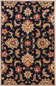 This hand-tufted area rug offers vintage elegance to traditional homes.