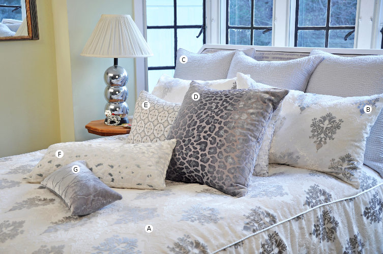 Kevin O'Brien Studio Brocade bedding collections includes a duvet, pillow shams, and decorative pillows