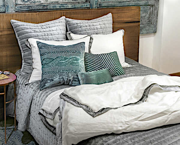 Kevin OBrien Studio Channel Velvet Bedding in Grey
