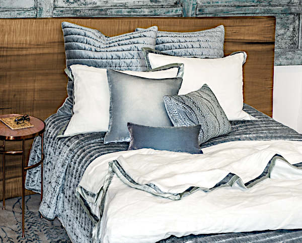 Kevin OBrien Studio Channel Velvet Bedding in Mineral.