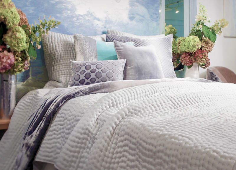 Kevin OBrien Studio Bedding - Hand Stitched Bedding - Gray color.